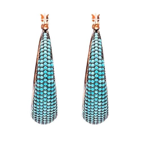 Turquoise Micro Pave and Copper Earrings