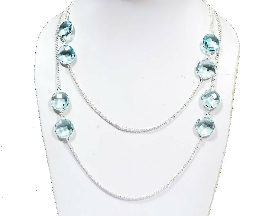 Aquamarine Large Round Stations on Chain Necklace