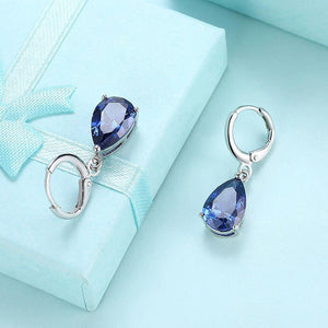 Sapphire Earrings - Natural sapphire pear shaped drop 14 KT earrings - Happy Birthday September