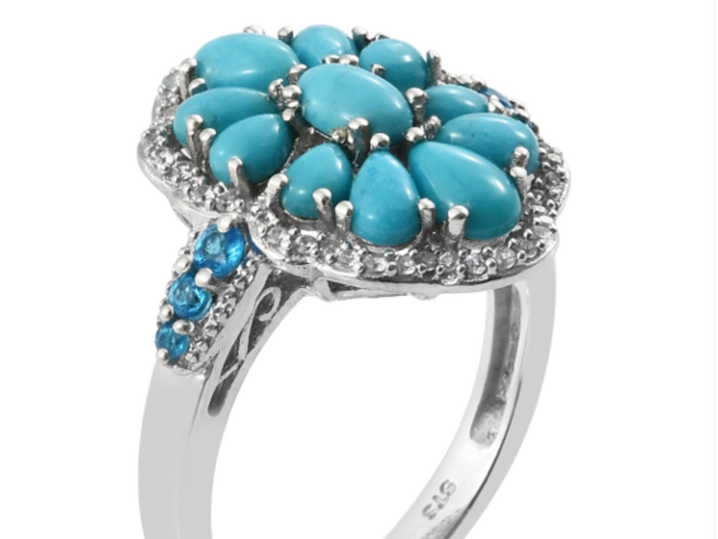 Turquoise Ring - Sleeping Beauty Turquoise with Neon Blue Apatite #5