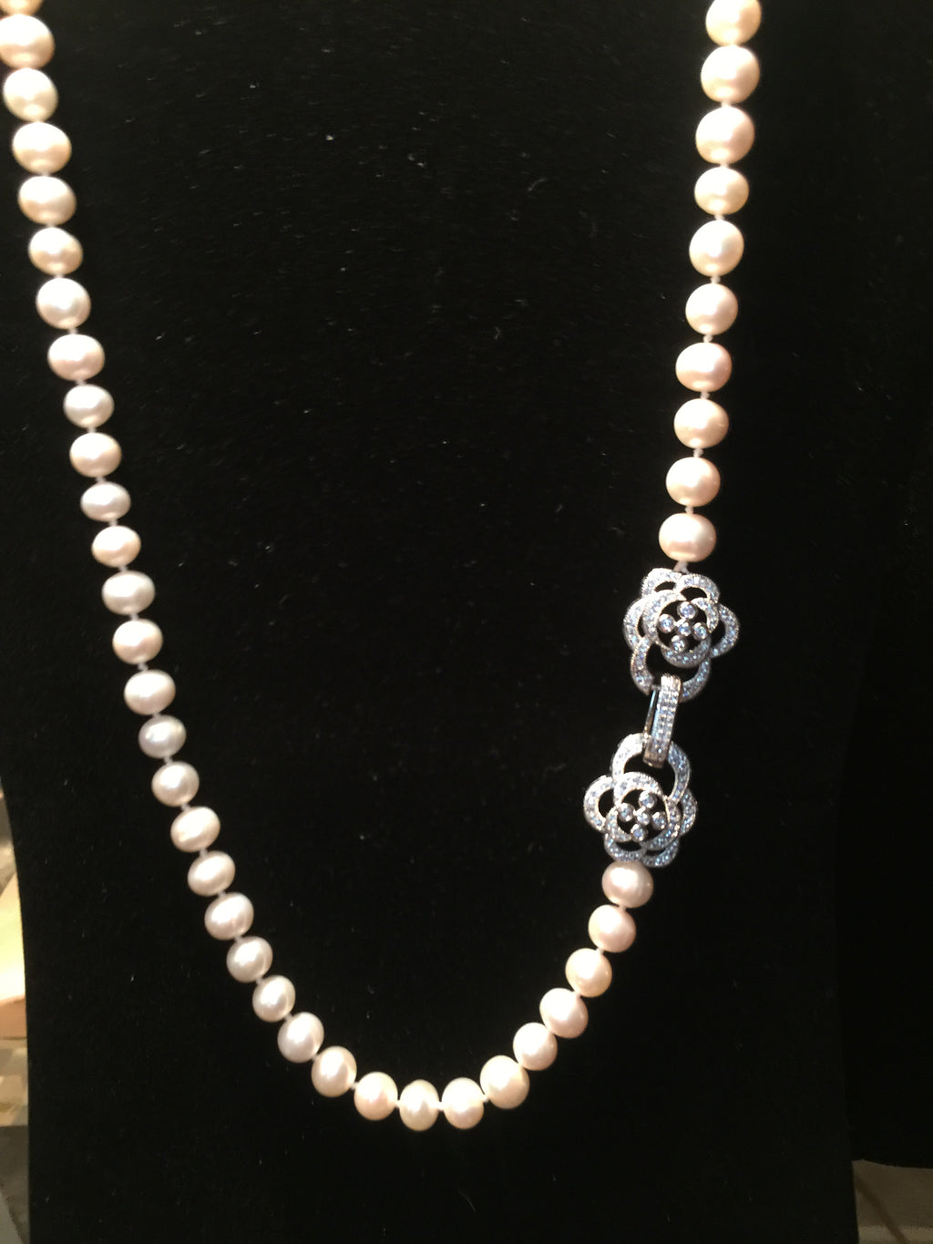 Pearl Necklace - Round and Creamy High Luster Pearls with Zircon Clasp