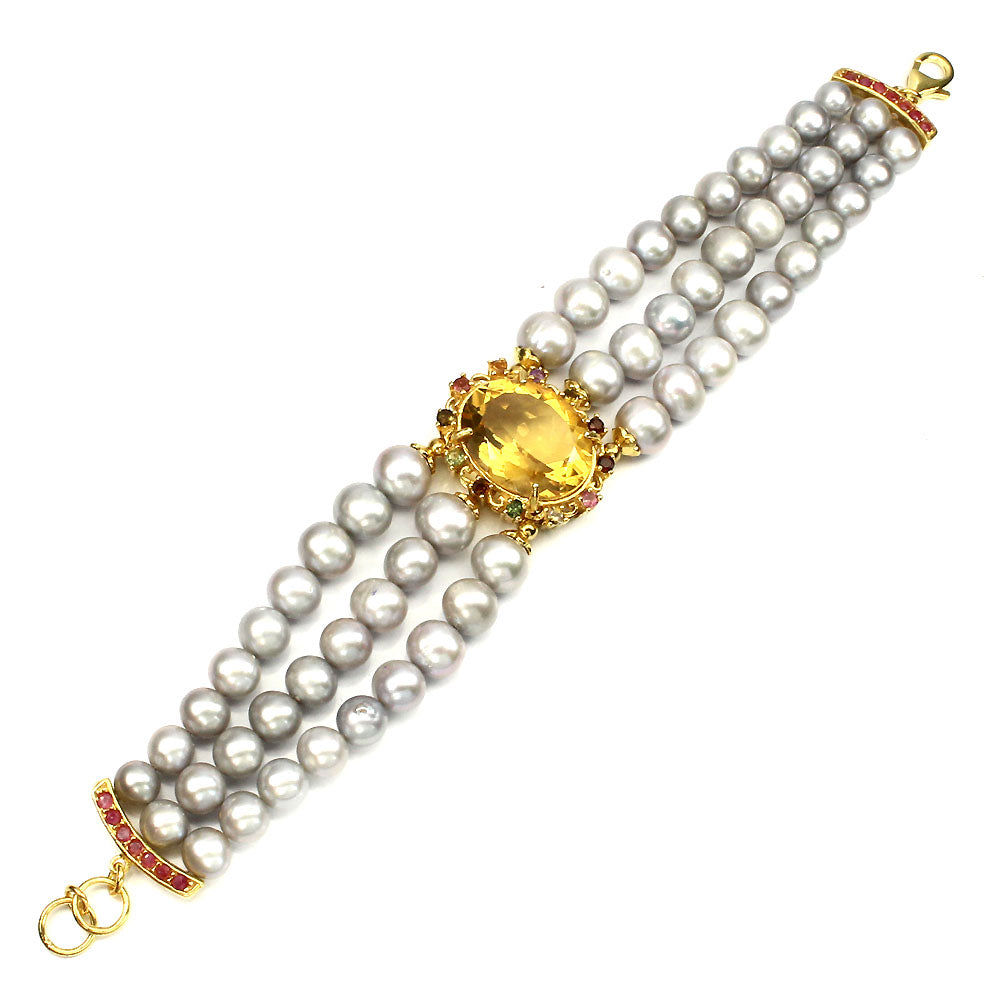 Pearl and Citrine Bracelet - Large Oval with Tourmaline Halo - Pisces Secrets LLC