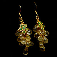 Citrine Briolettes and Emerald Earrings - Pisces Secrets LLC
