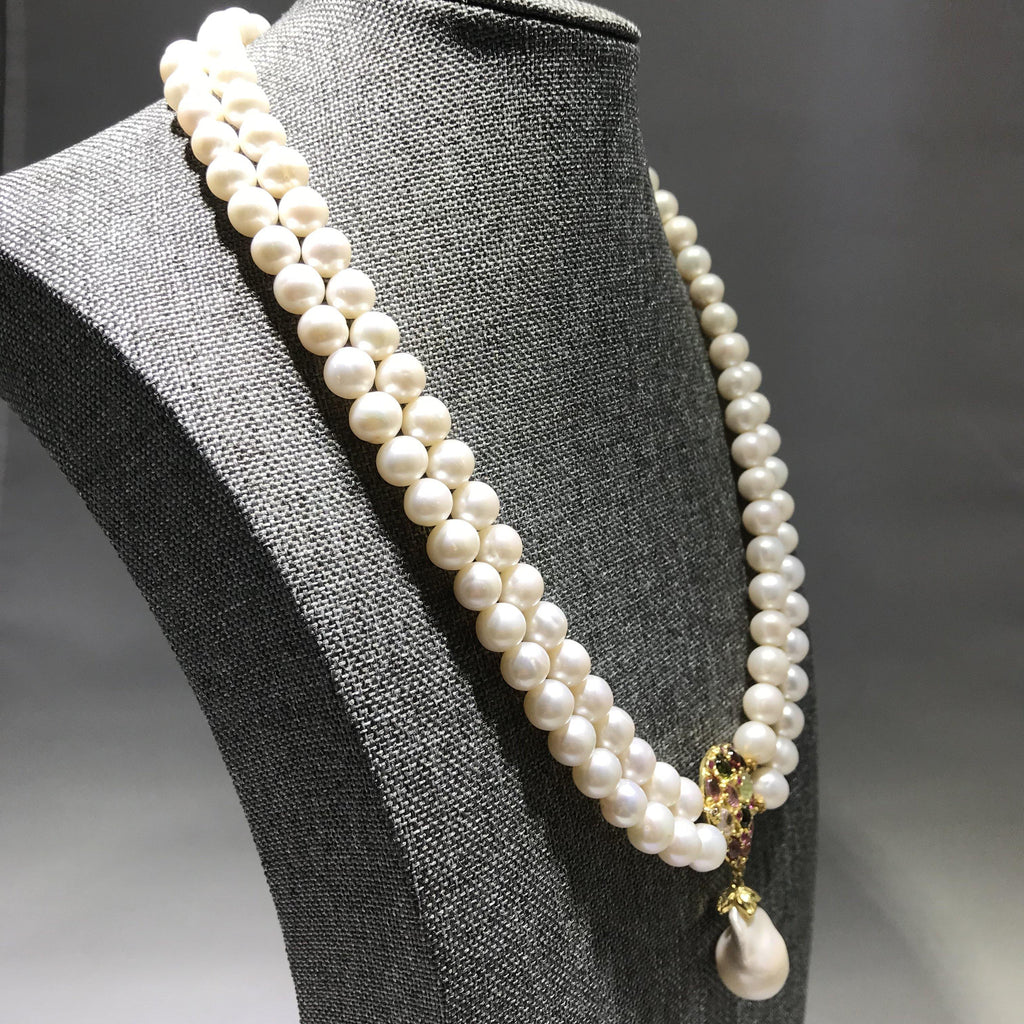 Pearl Necklace with Tourmaline and Pearl Dangle - Pisces Secrets LLC