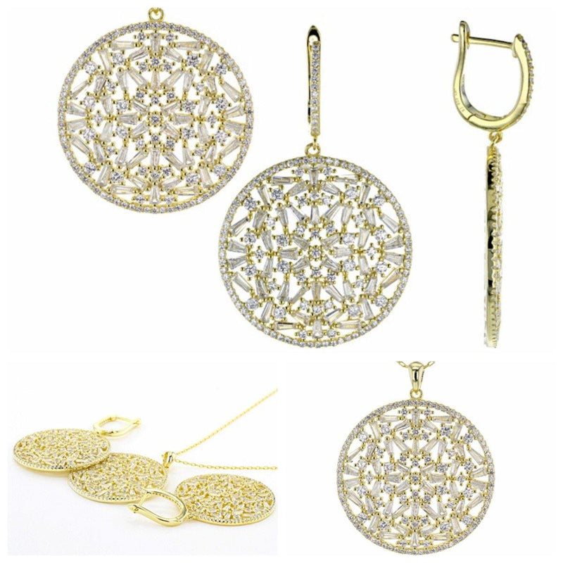 Yellow Gold Filigree and Zircon Set includes Necklace with Chain and Earrings