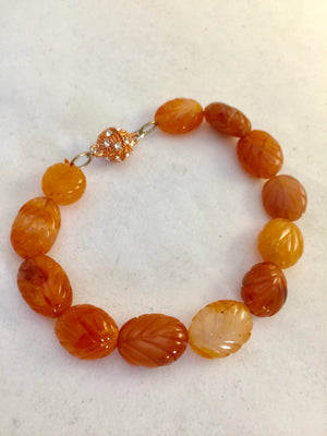 Carnelian Bracelet - Carved Beads 88.00 CT