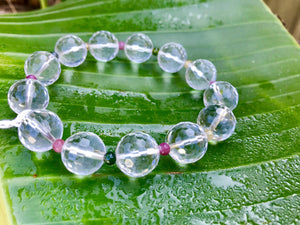 Clear Quartz Faceted Crystals with Tourmaline Spacer Stones Bracelet