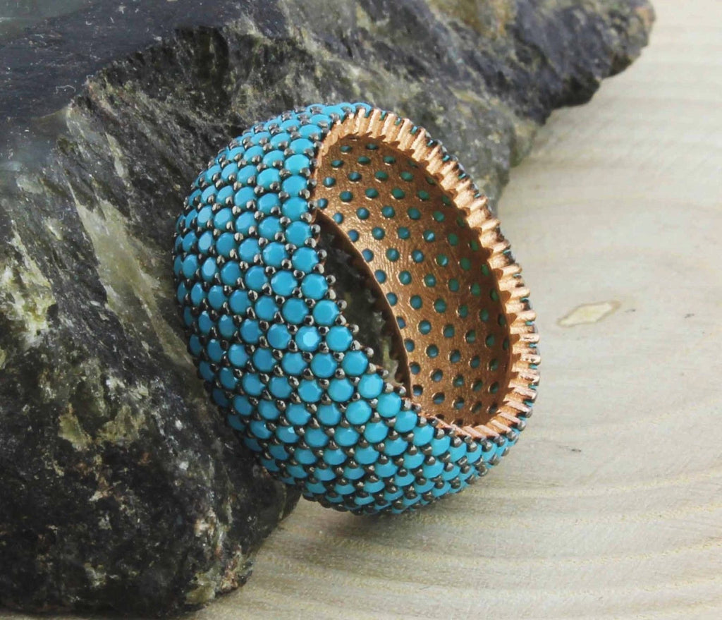 Turquoise Ring - Sleeping Beauty Turquoise Pave Ring size 7