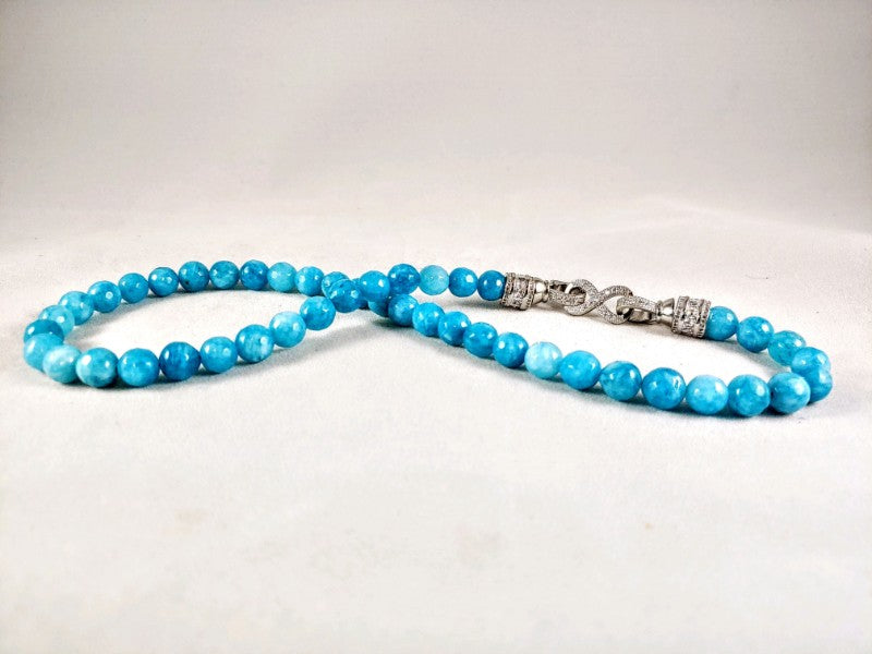 Aquamarine 10 MM Round Bead - 18 inch Necklace