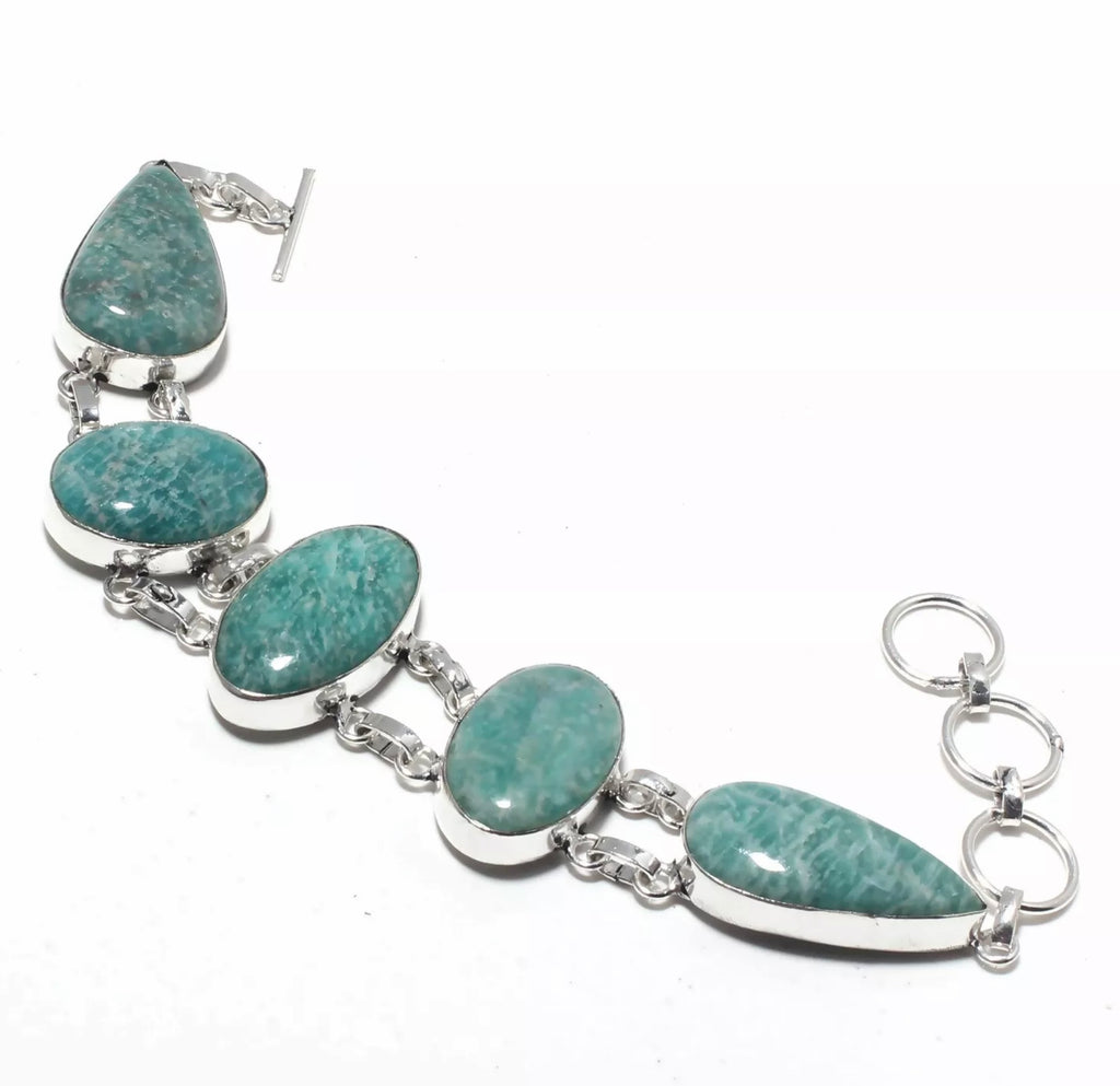 Amazonite Handcrafted Old World Charm Bracelet