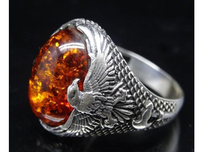 Amber Men's Ring (Size 11) from the Baltic - Pisces Secrets LLC
