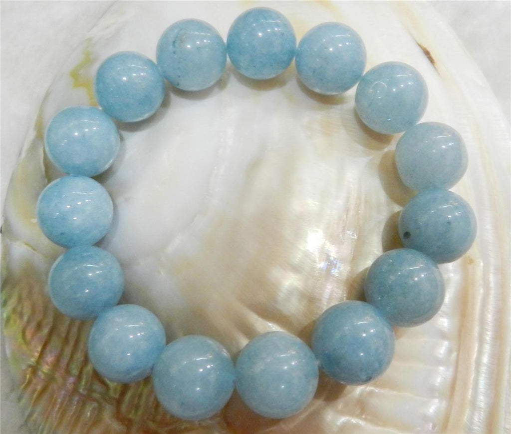 Aquamarine Bracelet -  Beautiful 12MM Beads