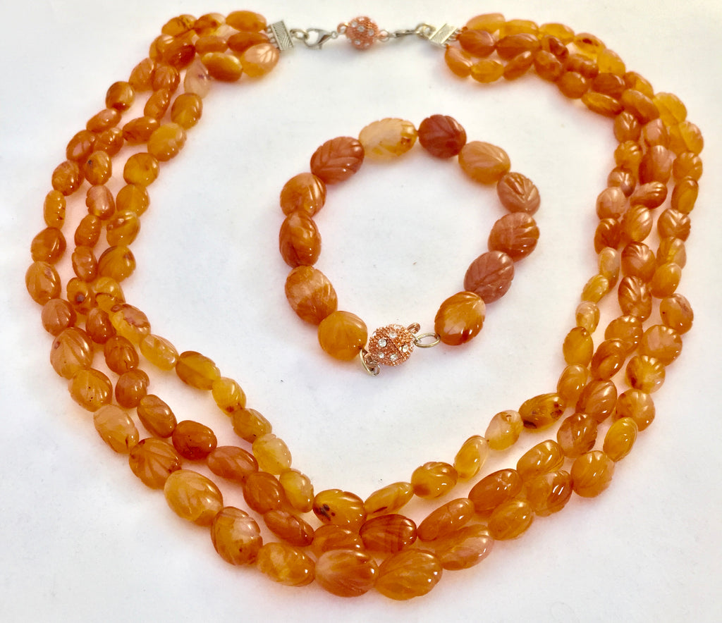 Carnelian Carved Bead Bracelet and Necklace Set - Pisces Secrets LLC