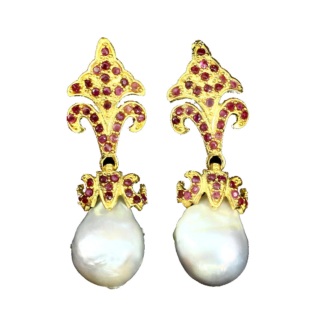 Pearl - White Baroque and Ruby Earrings - Pisces Secrets LLC