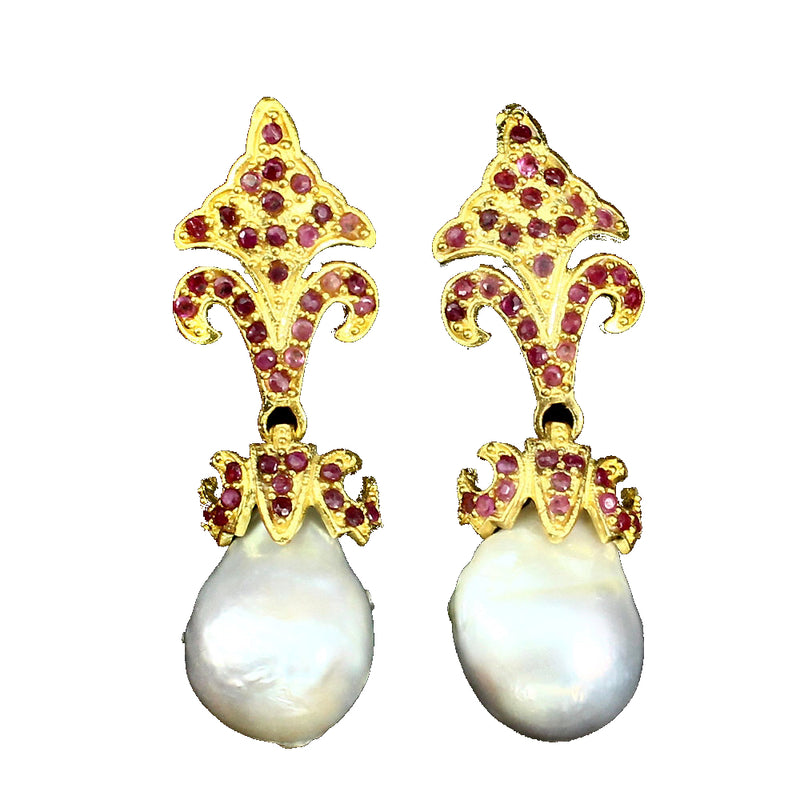 Pearl - White Baroque and Ruby Earrings