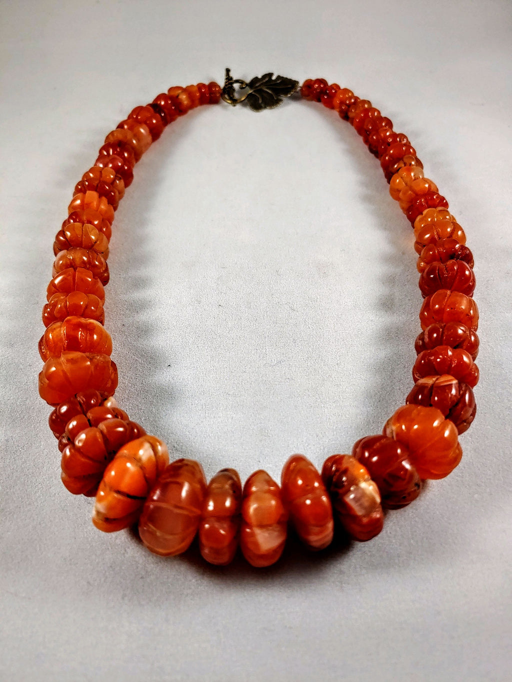 Carnelian Carved Large Stones Graduated Necklace