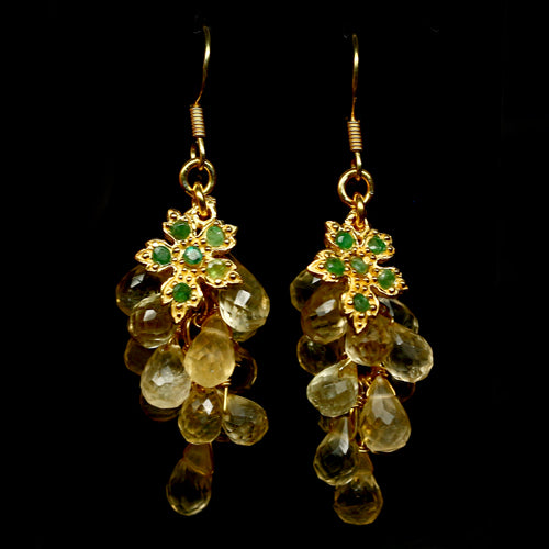 Citrine Briolettes and Emerald Earrings