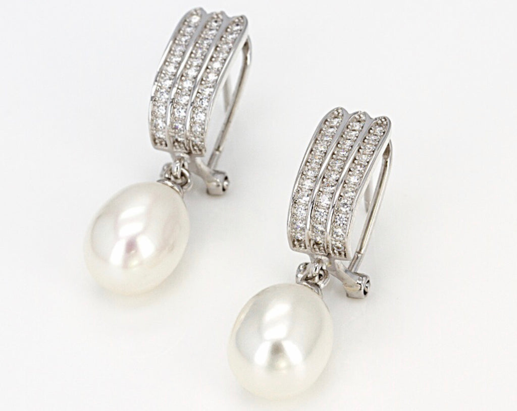 Pearl - White Baroque Earrings with Zircon French Clip