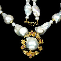"Pearl Baroque White 20"" Necklace with Ruby Halo - Pisces Secrets LLC"
