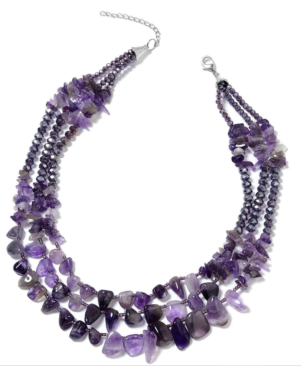 "Amethyst & Swarovski Crystal Mix 18"" Necklace"