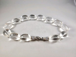Clear Quartz Necklace - 26x18 MM Oblong Shaped Quartz Beads, Amplifier high energy clear quartz necklace
