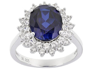 Sapphire Ring - Blue Oval Sapphire with White Sapphire Double Halo - Pisces Secrets LLC