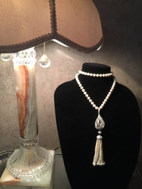 Pearl Necklace with Amazing Large Zircon And Seed Pearls Dangle