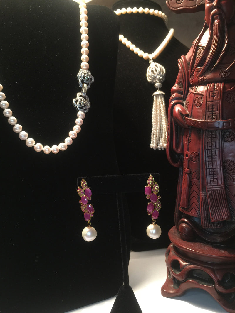 Pearl with Ruby Cluster Earrings