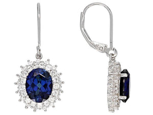 Sapphire Earrings Oval Stones surrounded by White Sapphire Double Halo