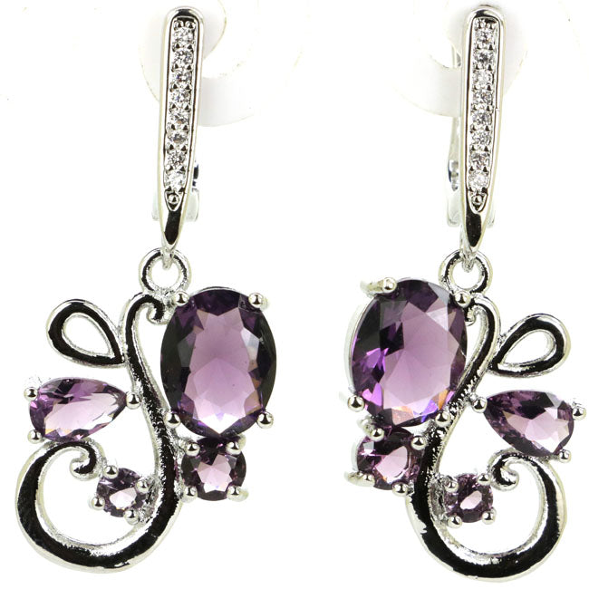 Amethyst Earrings - Deep Purple