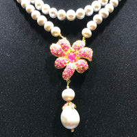 Pearl Necklace with Ruby Cluster and Pearl Dangle