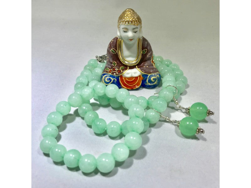 Jade Bracelet, Jade Necklace and Jade Earrings Set