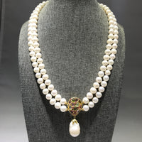 Pearl Necklace with Tourmaline and Pearl Dangle