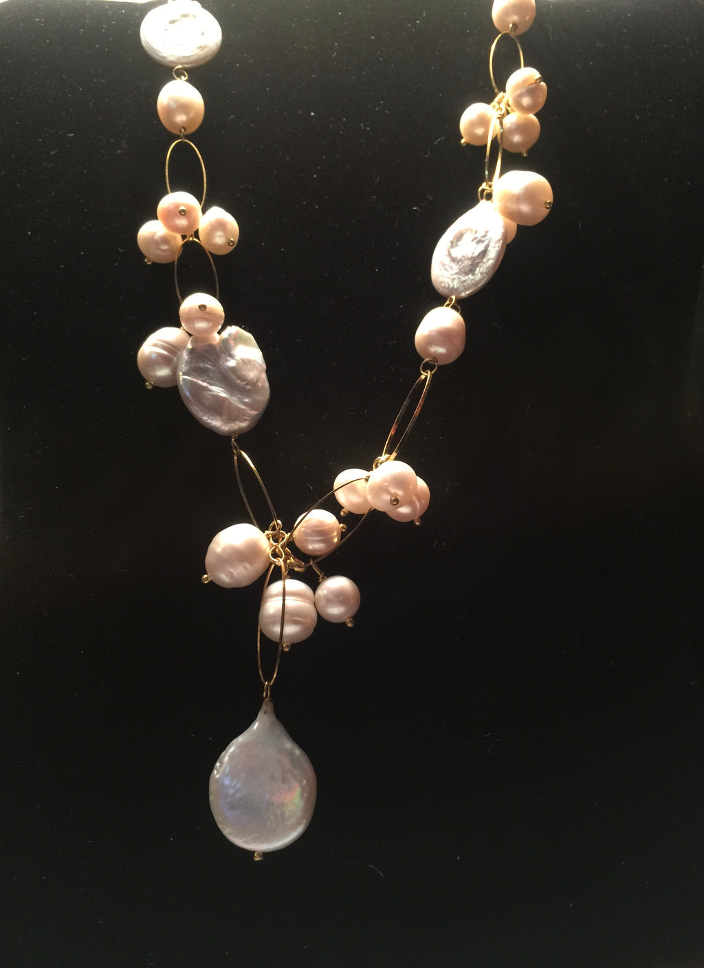 Pearl necklace baroque and round pearl clusters with Keshi Coin Dangle