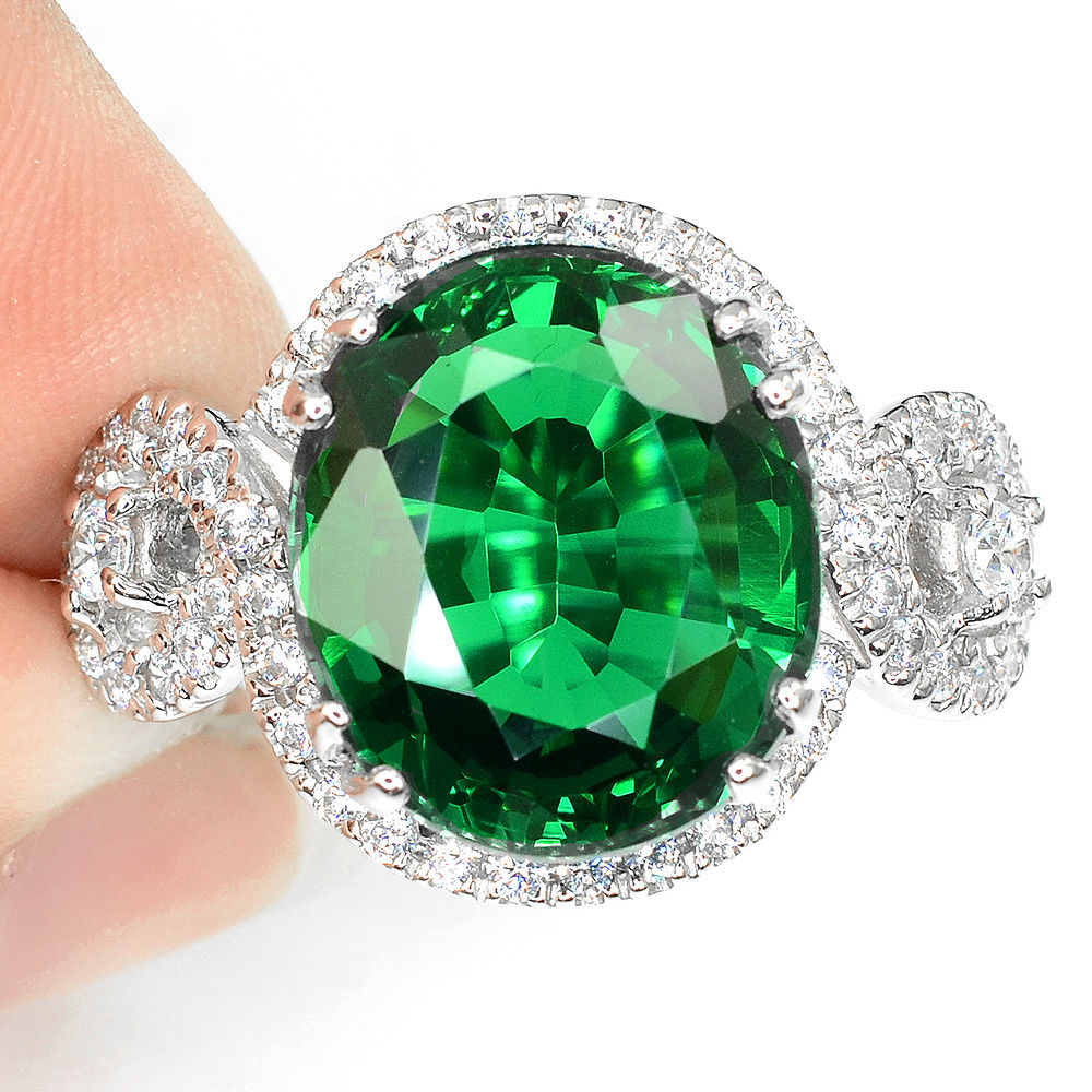 Green Tsavorite Garnet Ring with White Zircon