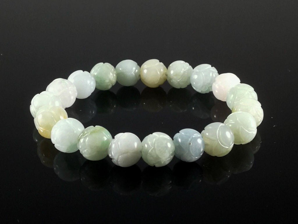 Jade Hand Carved 10 mm Bead Bracelet