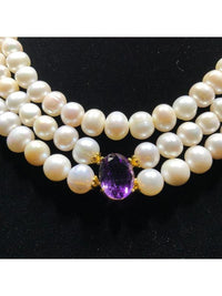 Pearl Necklace (with 3 HUGE Amethyst Oval Stations)