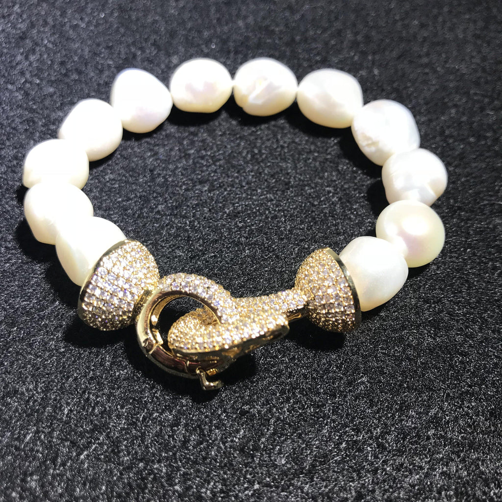 Pearl Bracelet Handmade with Large White Baroque Pearls