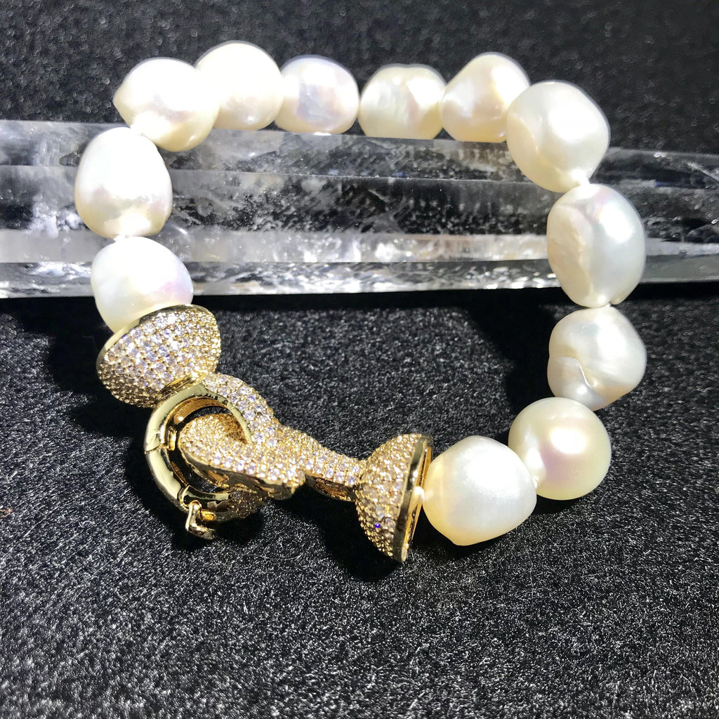 Pearl Bracelet Handmade with Large White Baroque Pearls - Pisces Secrets LLC