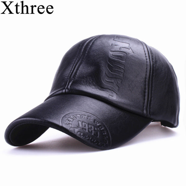 f85715d2 Xthree New fashion high quality fall winter men leather hat Cap casual moto  snapback hat men's baseball cap wholesale