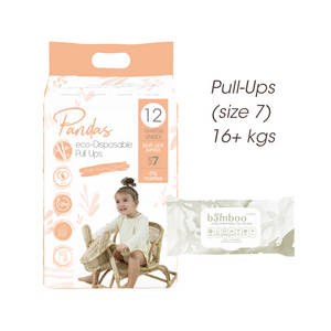 FREE TRIAL Pull-ups (size 7) 16+ kgs ECO PACK // Nappies Wipes - Luvme.eco