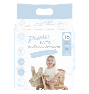 Pandas by Luvme ECO Disposable BAMBOO Nappies LARGE 9-14kg - Luvme.eco