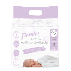 Pandas by Luvme ECO Disposable BAMBOO Nappies NEWBORN 0-3kg - Luvme.eco