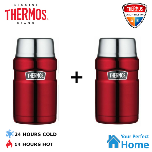 2 x Genuine Thermos King S/Steel Vacuum Insulated Food Jar 710ml