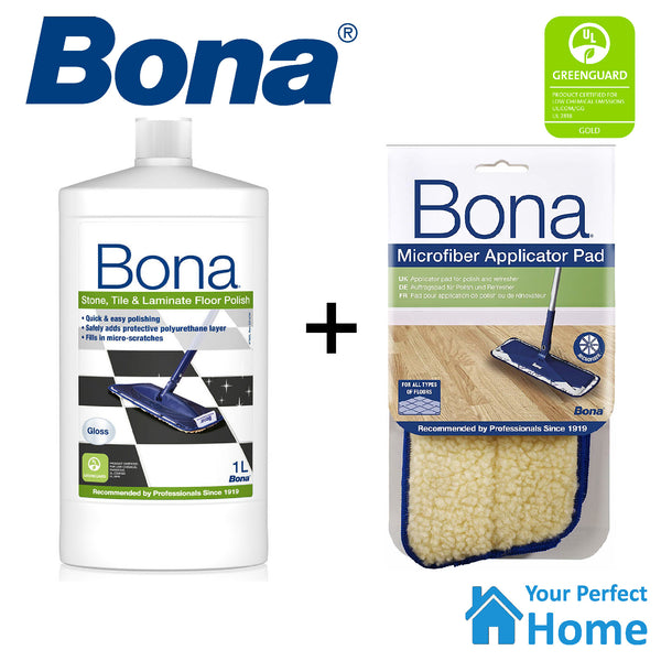 Bona Stone Tile & Laminate Floor Gloss Polish 1L with Applicator Pad