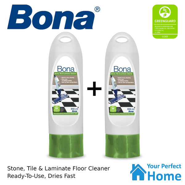 2 x Bona Stone Tile & Laminate Floor Cleaner 850ml Cartridge