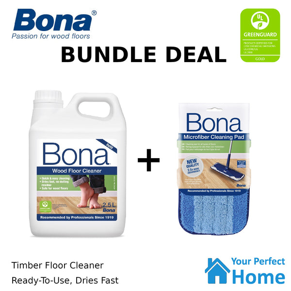 Bona Wood Floor Cleaner 2.5L + Cleaning Pad