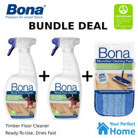 2 x Bona Wood Floor Cleaner 1L Trigger Pack + Cleaning Pad