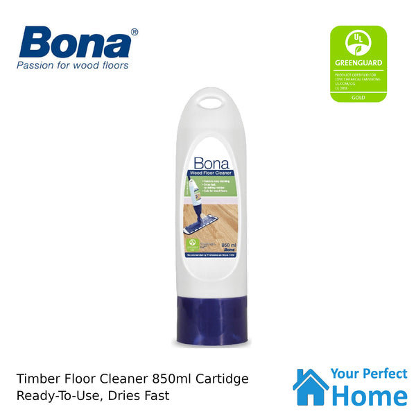 Bona Wood Floor Cleaner 850ml Refill Cartridge for Spray Mop Timber