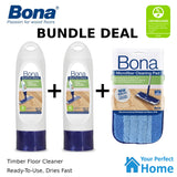 2 x Bona Wood Floor Cleaner 850ml Refillable Cartridge + Cleaning Pad